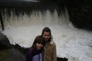 The girls at the waterfall